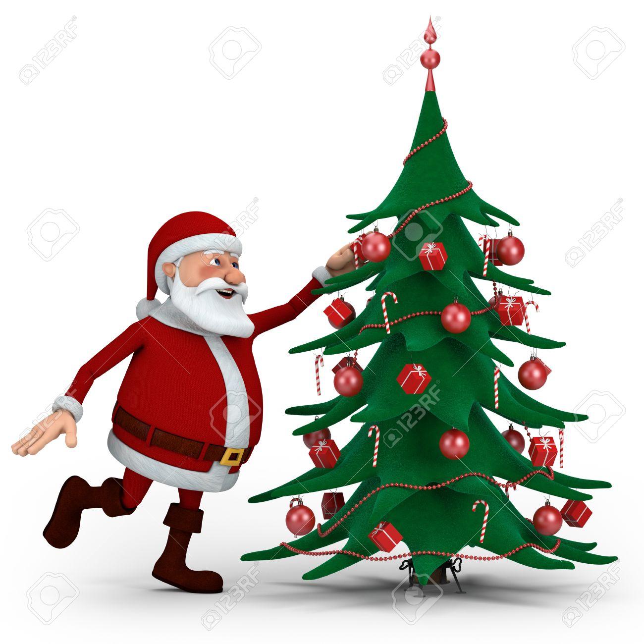 Cartoon Santa Claus Decorating Christmas Tree High Quality  - Quality Christmas Tree