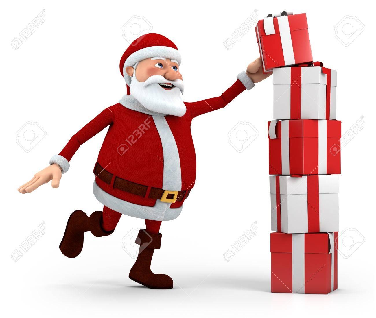 cute cartoon santa claus stacking presents - high quality 3d illustration Stock Illustration - 11299218