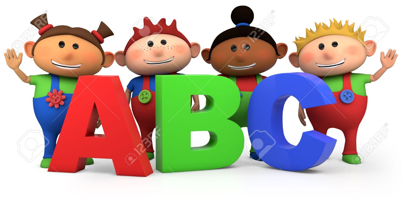 illustration cute multi ethnic kids with abc letters high quality 3d illustration