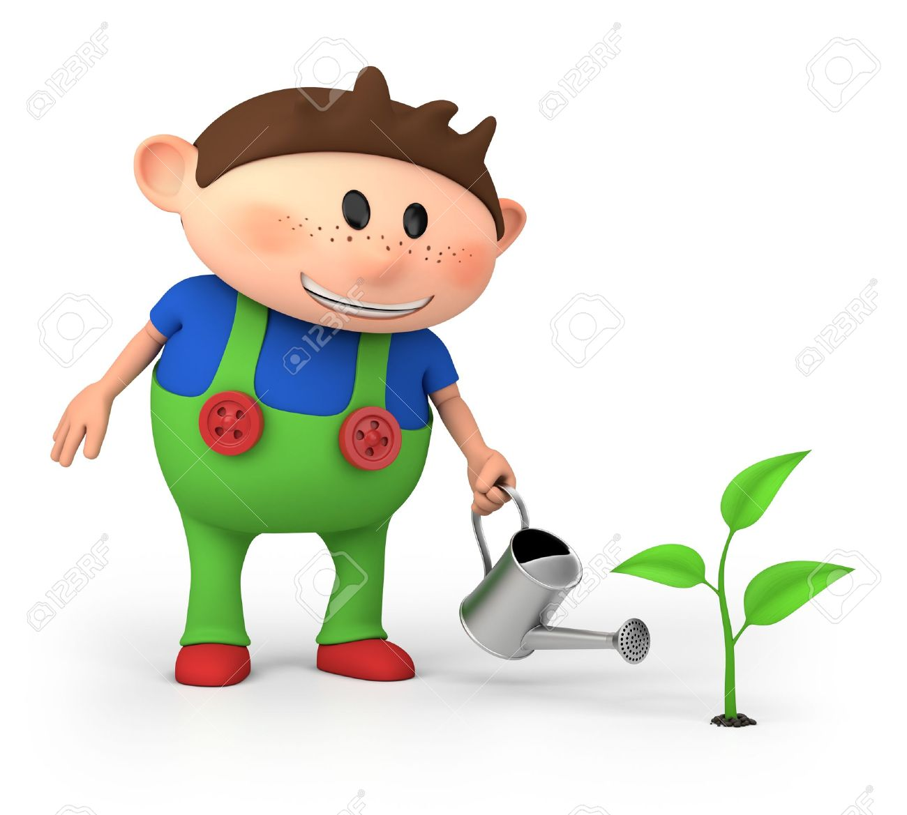 cute little cartoon boy watering sprout - high quality 3d illustration - 13097700