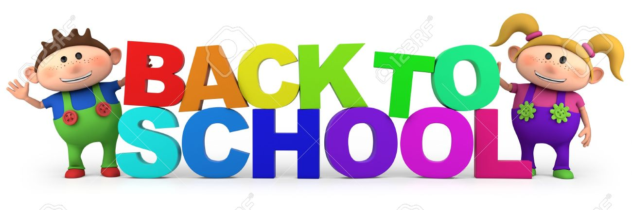 cute little cartoon kids with back to school letters  - high quality 3d illustration Stock Photo - 13753810