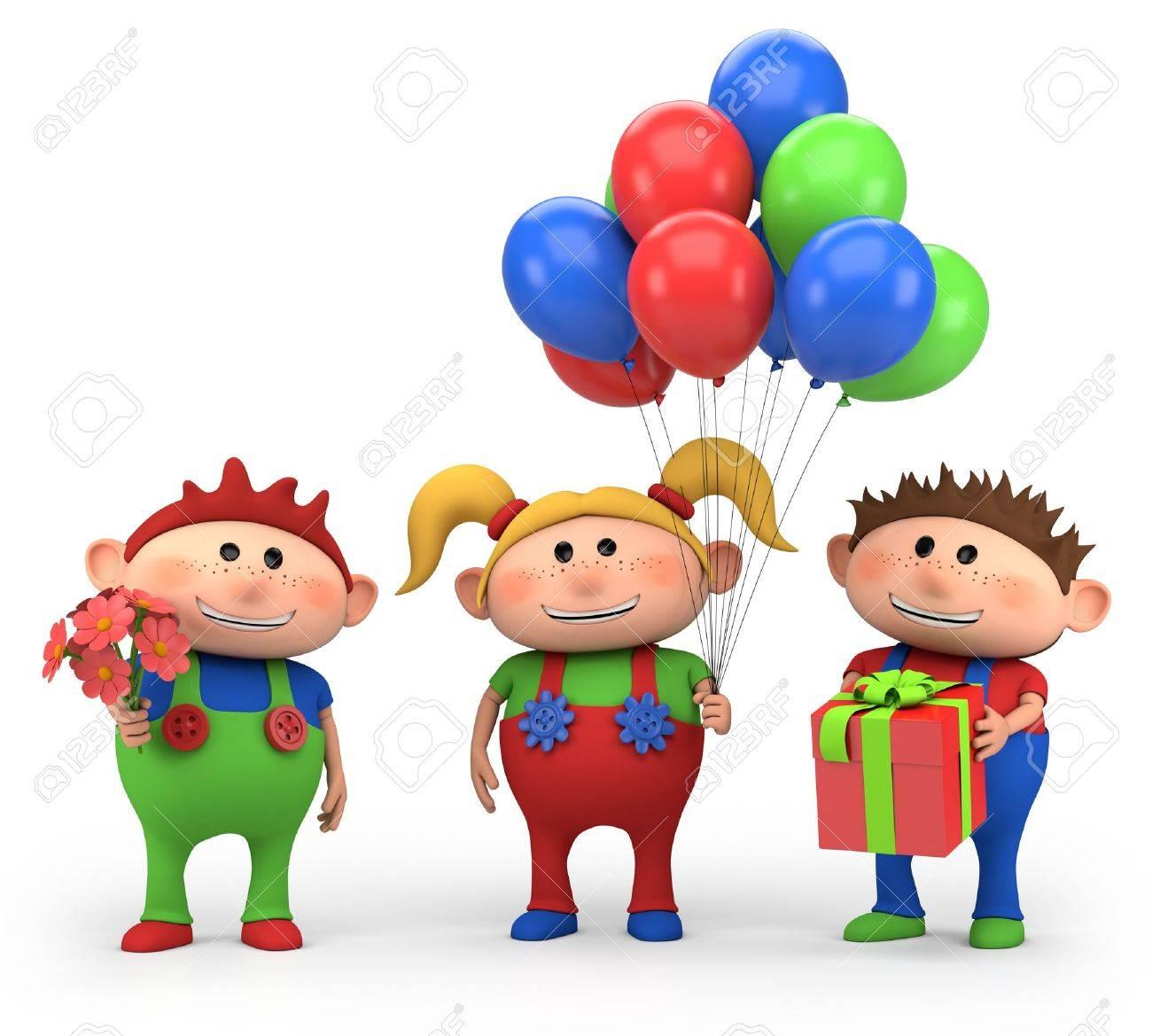 cute cartoon kids with birthday presents - high quality 3d illustration Stock Illustration - 14648323