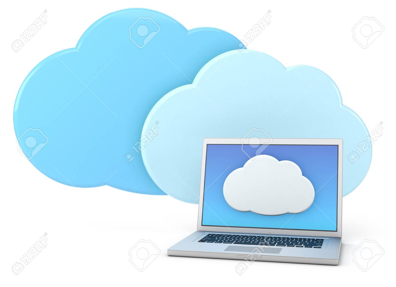 laptop computer with cloud icon - high quality 3d illustration Stock Photo - 14648320