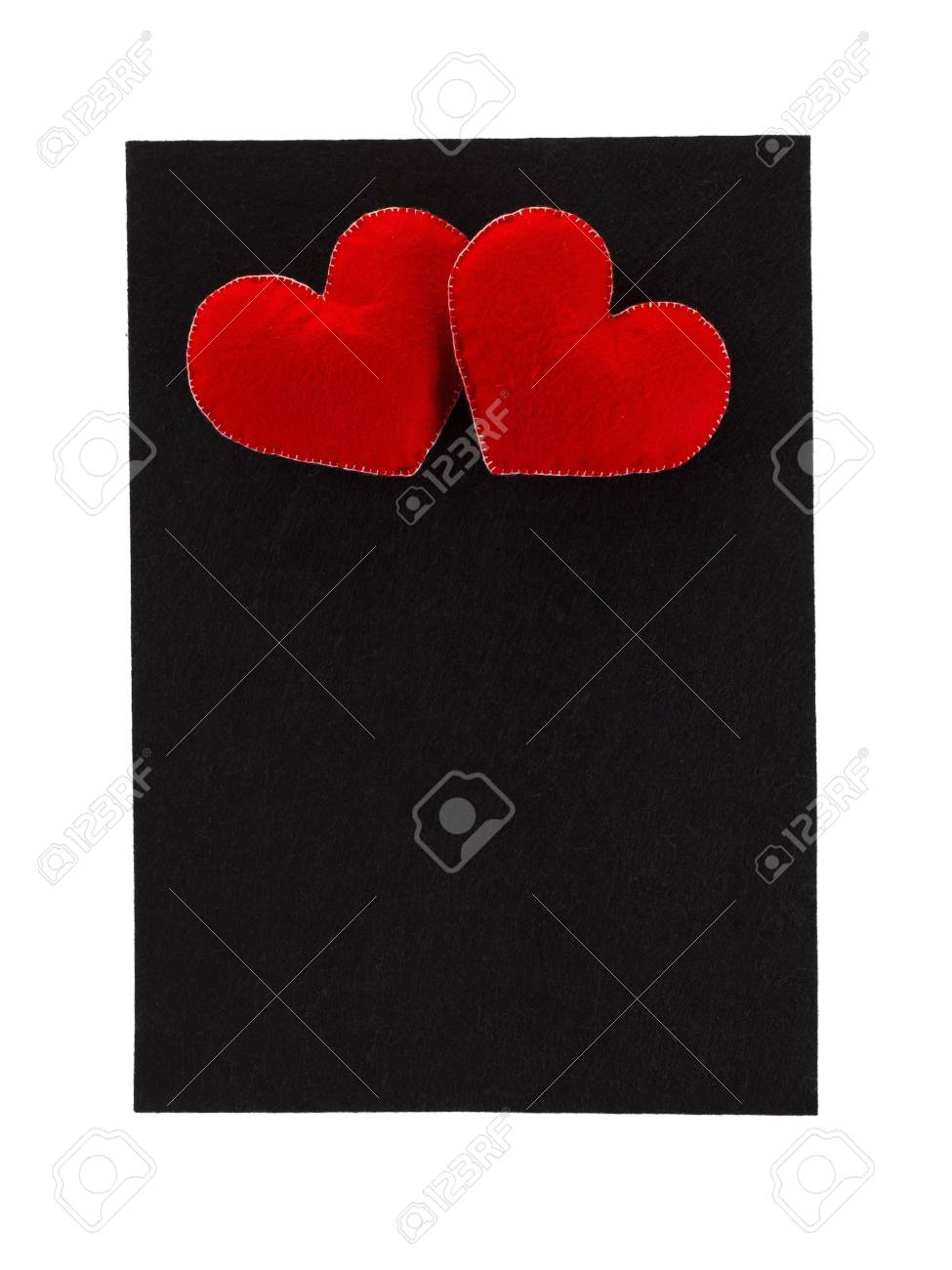 Black Frame Of Felt With Hearts On A White Background, As A Greeting ...