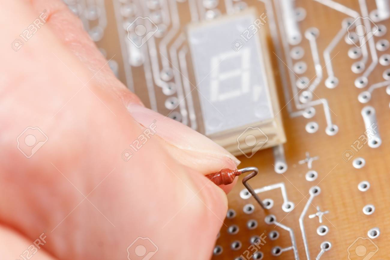 Assembly Of Electronic Components On A Printed Circuit Board Stock Pcb Photo 58972418