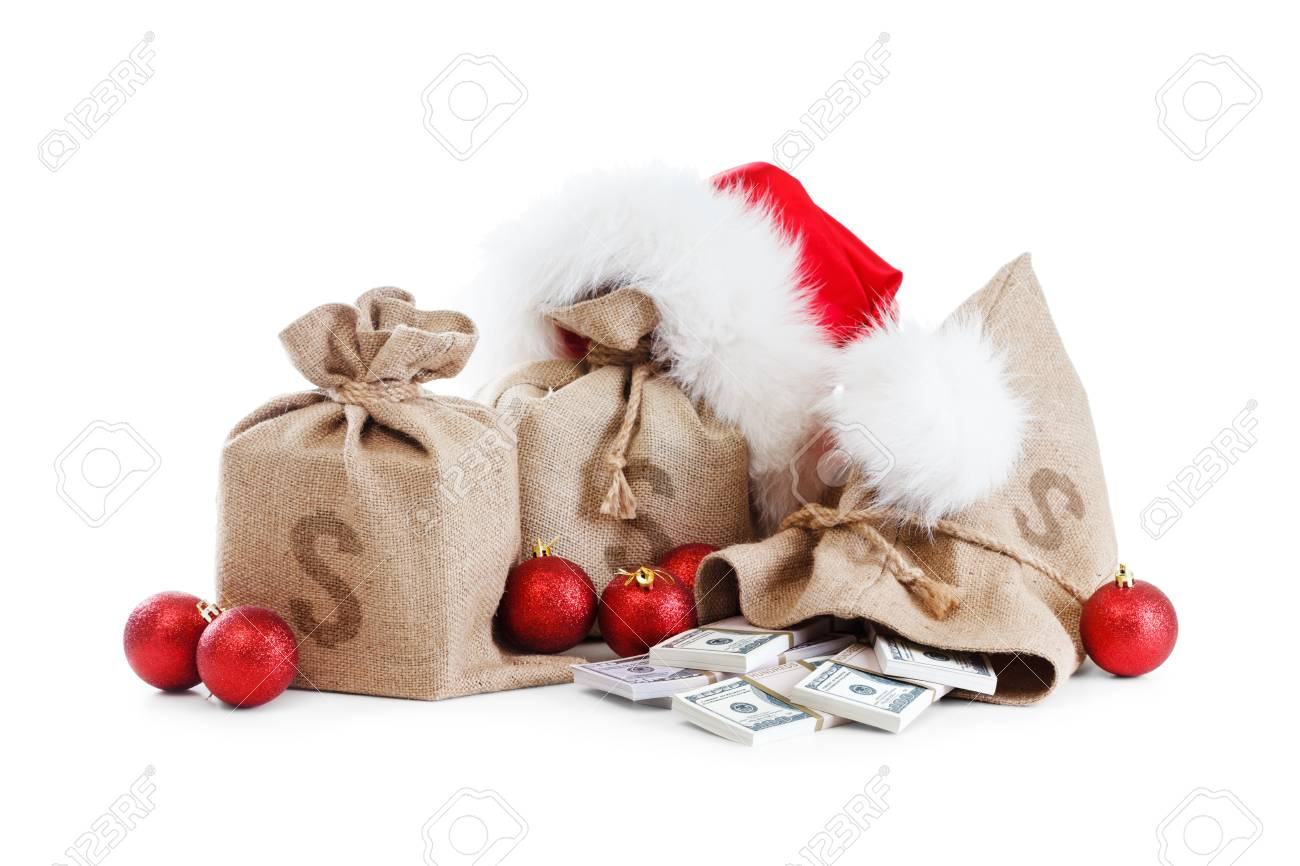 christmas gift isolated on white background concept with money bag santa claus cap