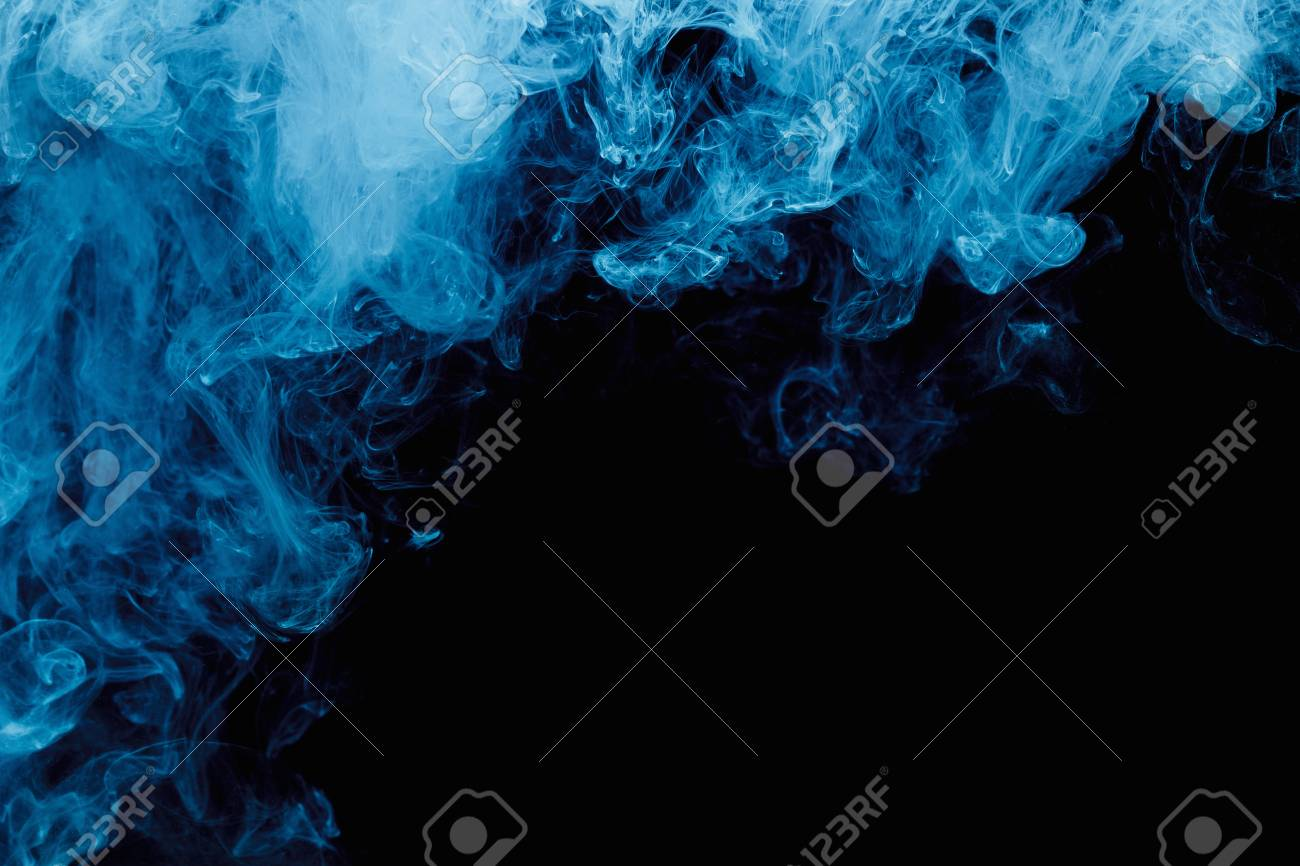 Abstract Blue Cloud Pattern Of White Smoke On A Black Background