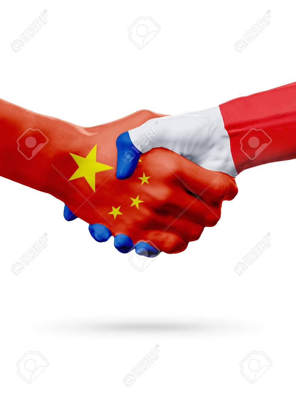 Drapeaux Chine, Pays De France, Coopération De Poignée De Main ...