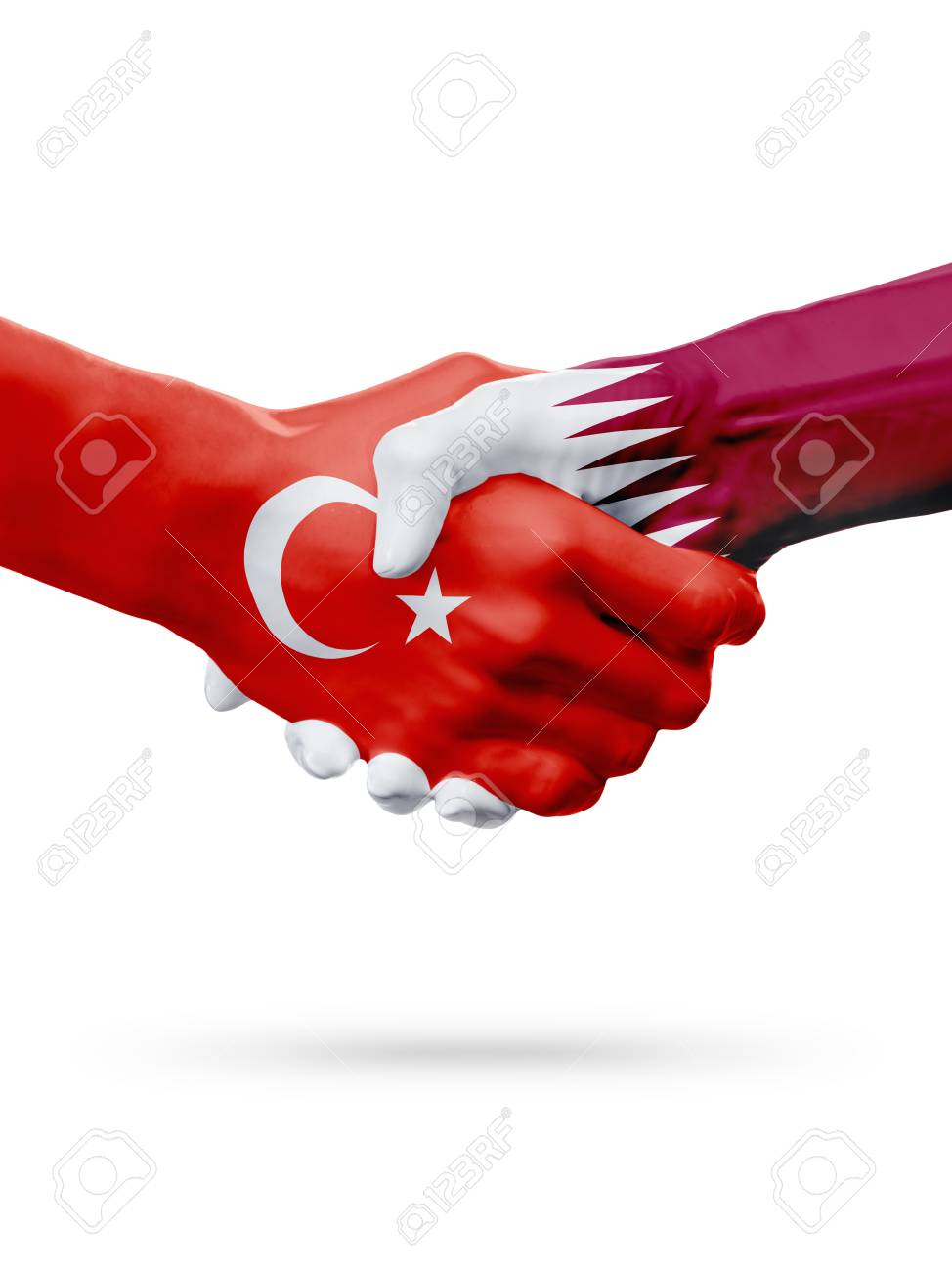 Flags Republic of Turkey, Qatar countries, handshake cooperation, partnership, friendship or sports team competition concept, isolated on white - 76073994