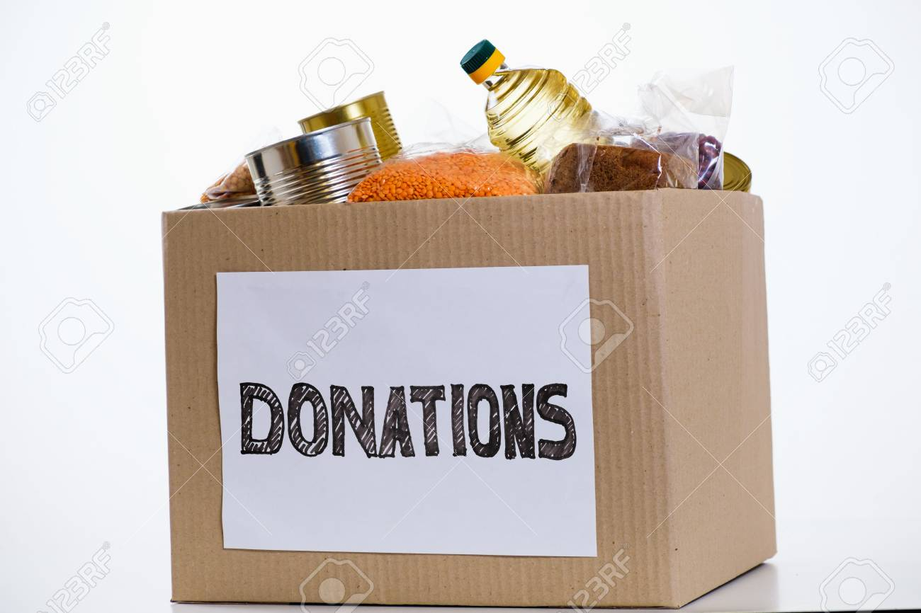 Food in a donation cardboard box, isolated on white background - 96918119