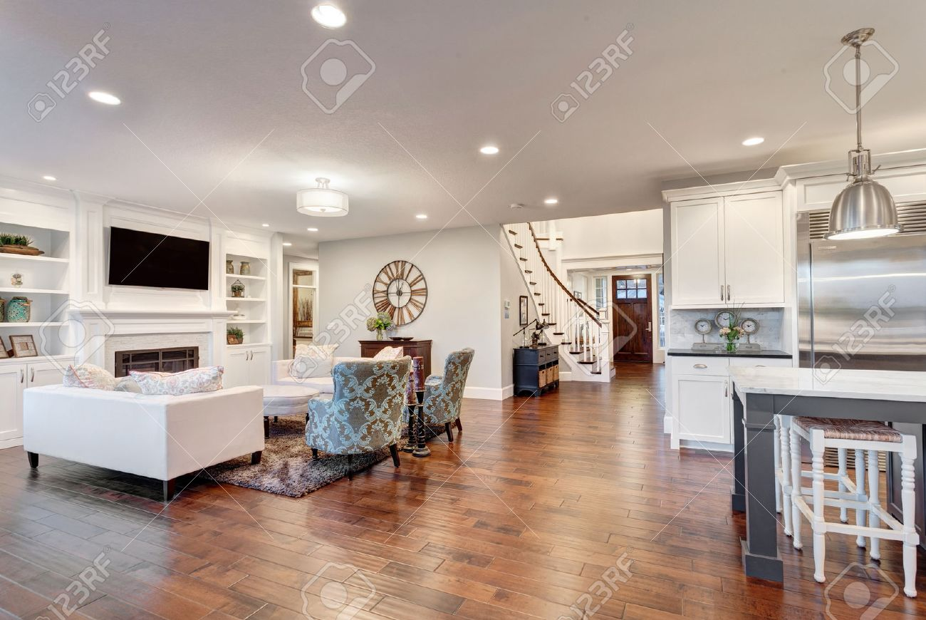 Beautiful Living Room In Luxury Home With View Of Kitchen And ...