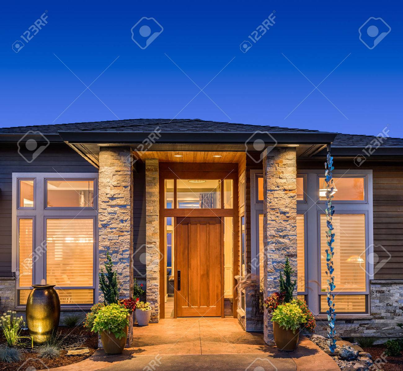 Luxury Home Exteriors Beautiful Luxury Home Exterior At Night Stock Photo Picture And