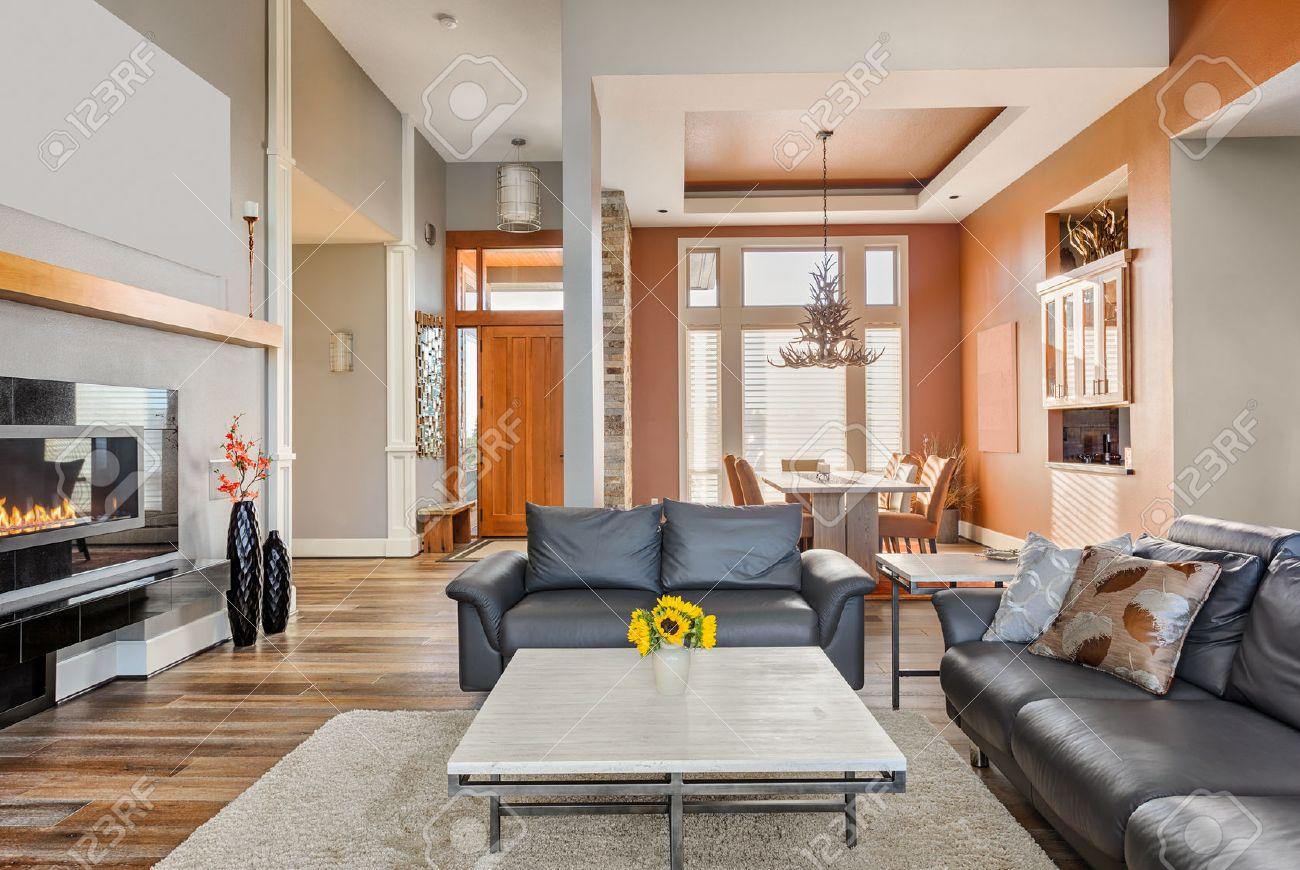 soggiorno moderno con camino foto royalty free, immagini, immagini ... - Sala Da Pranzo O Soggiorno 2