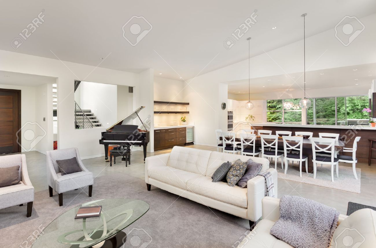 Living Room Interior In New Luxury Home With Entryway, Piano ...
