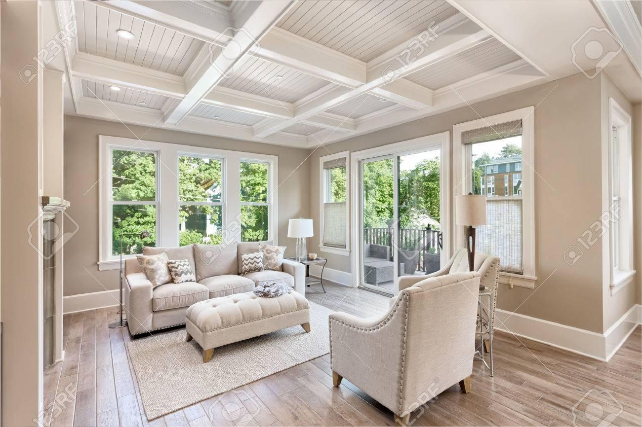 Beautiful Living Room With Hardwood Floors In New Luxury Home Stock ...