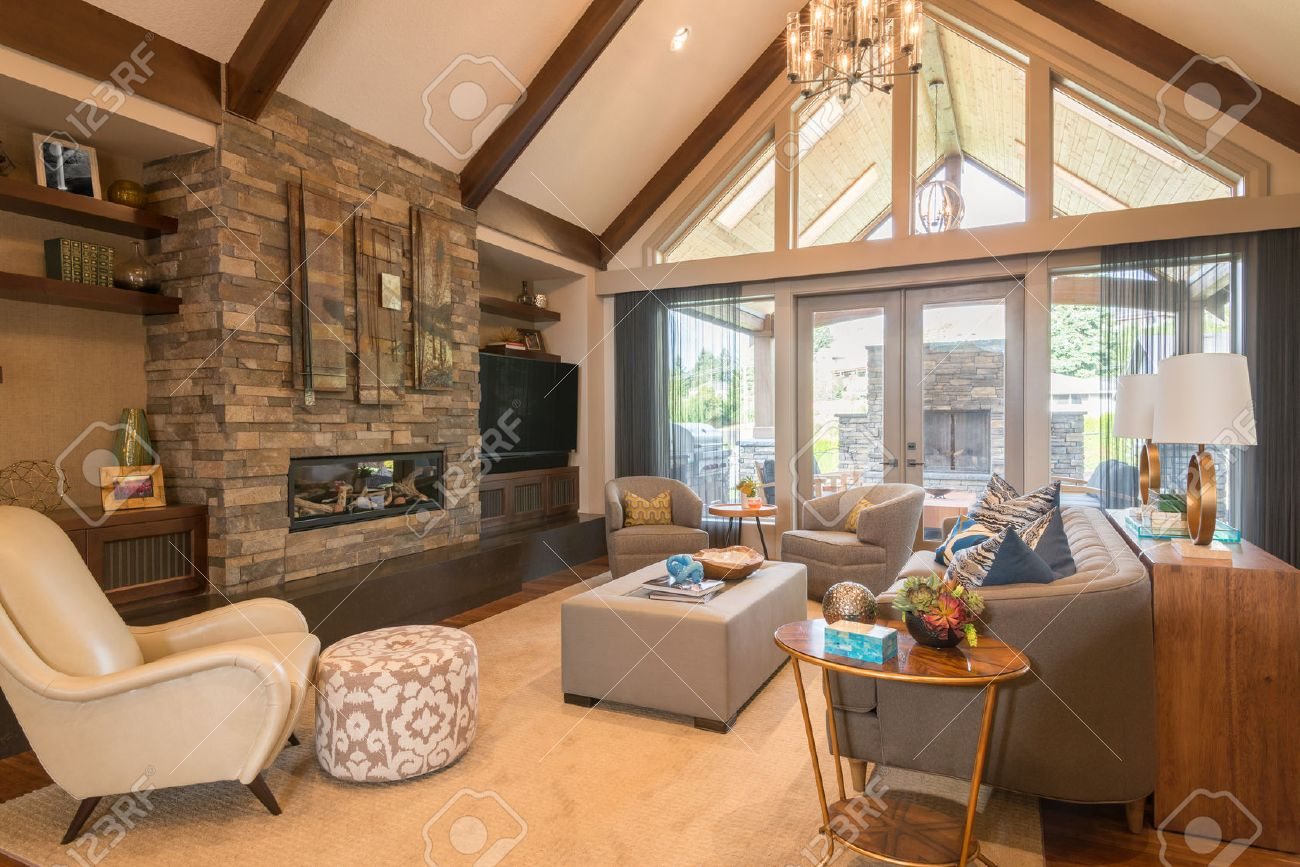 Furnished living Room in Luxury Home - 50555928