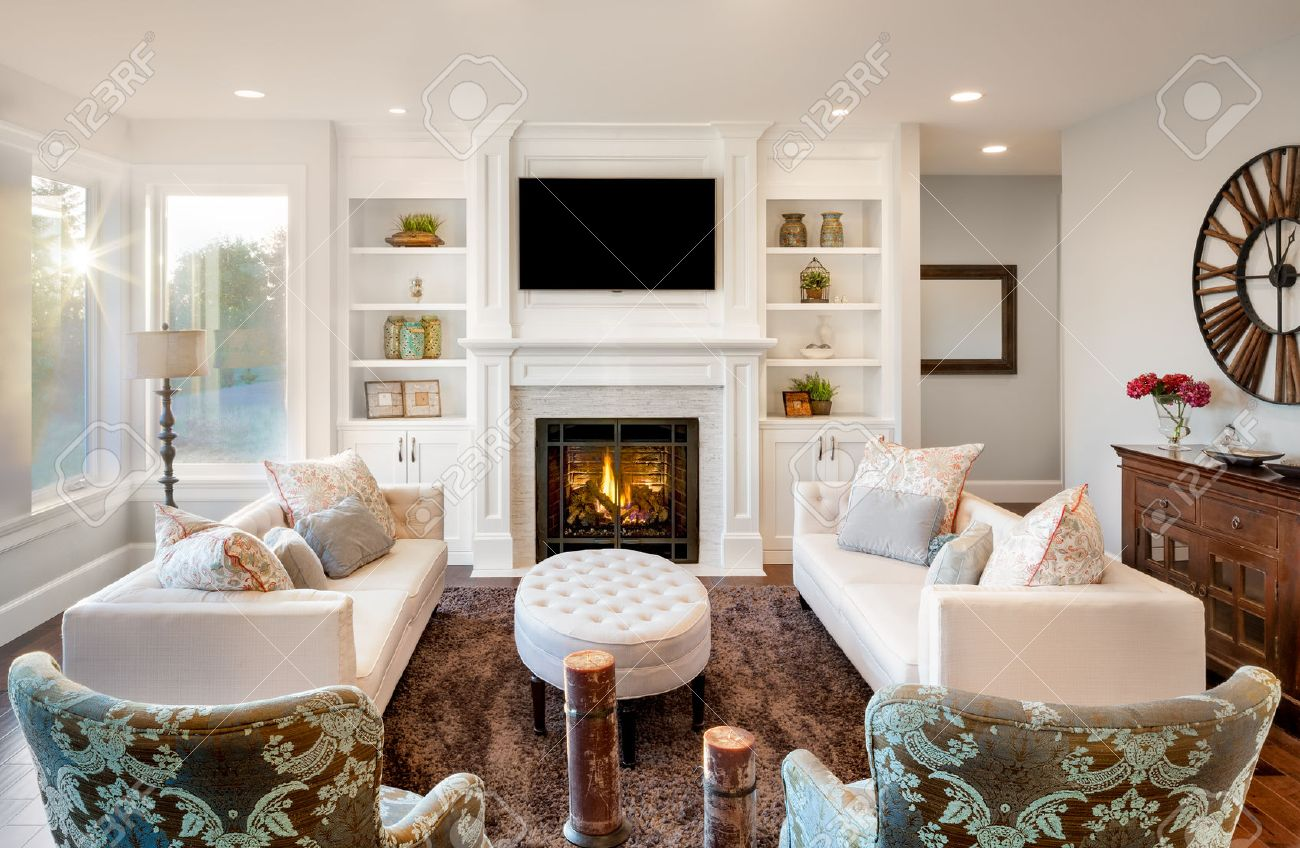 Beautiful Living Room With Hardwood Floors And Amazing View Stock ...