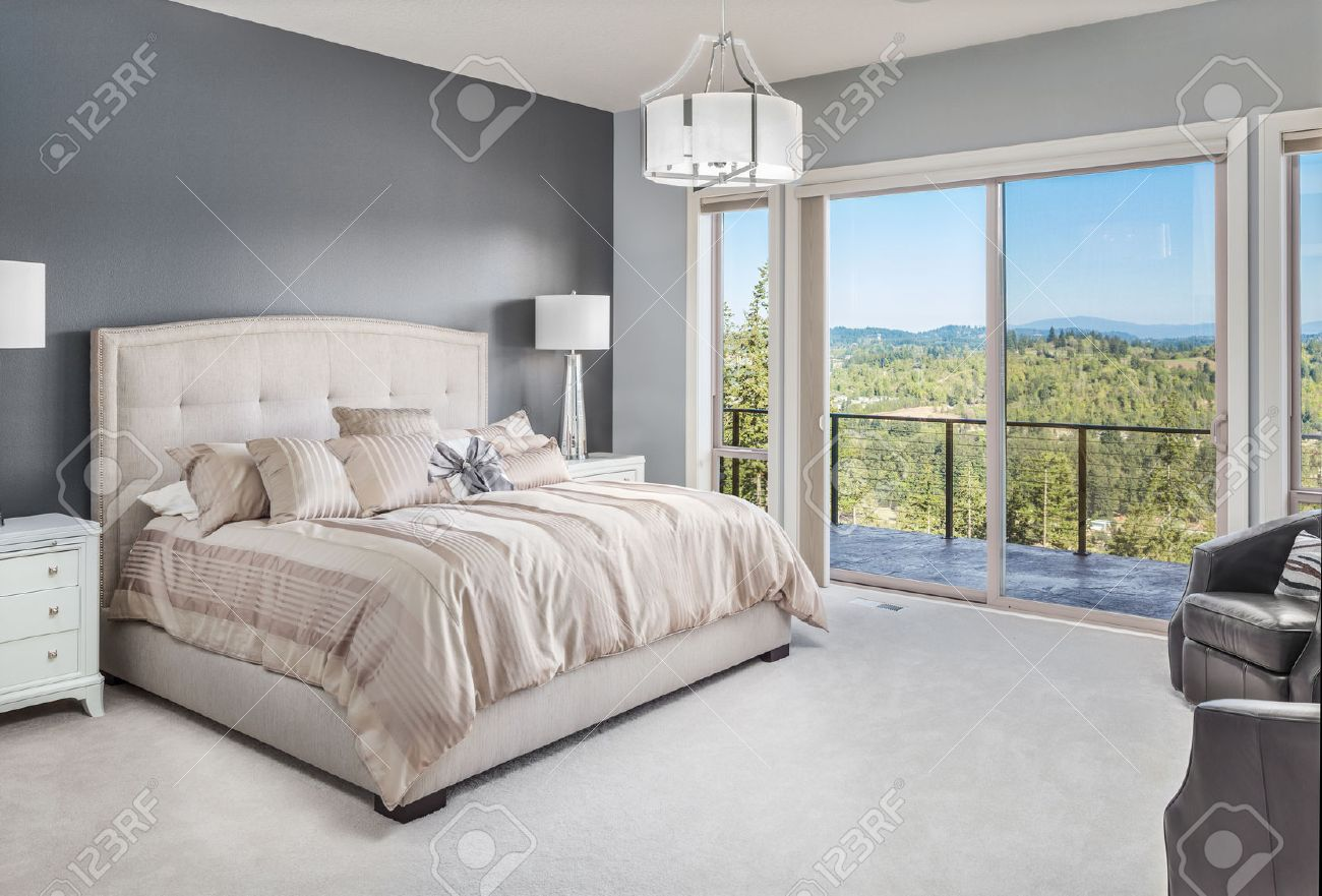 master bedroom in luxury home with beautiful view stock photo 50557090
