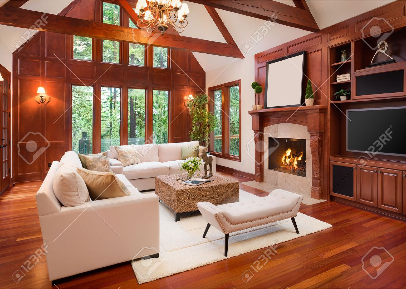 Beautiful Living Room Interior With Hardwood Floors And Fireplace In New  Luxury Home. Includes Built Part 86