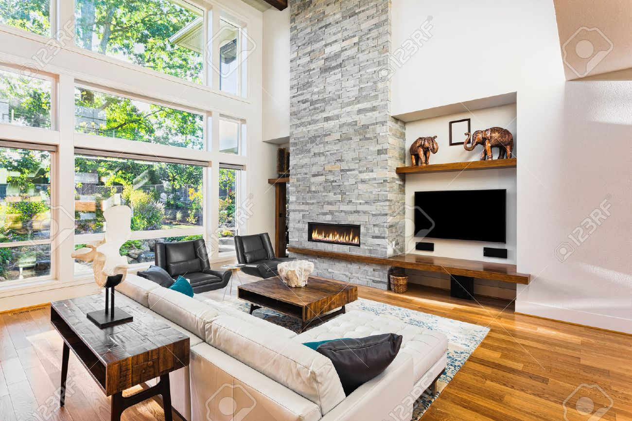 Beautiful Living Rooms With Fireplace beautiful living room with hardwood floors and fireplace in new