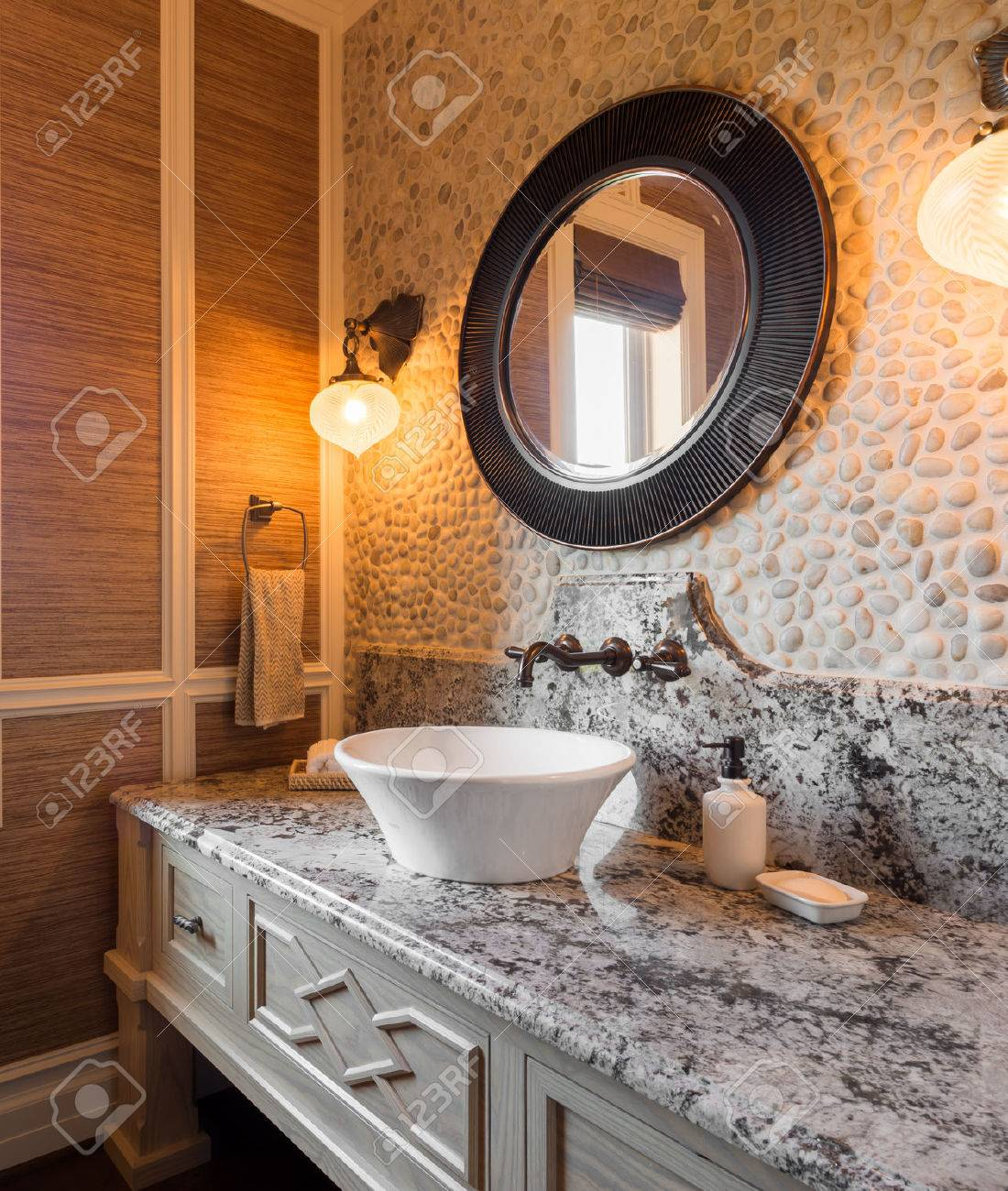 Luxury half bathrooms - Stock Photo Bathroom Interior In New Luxury Home Half Bath With Sink Counter And Mirror