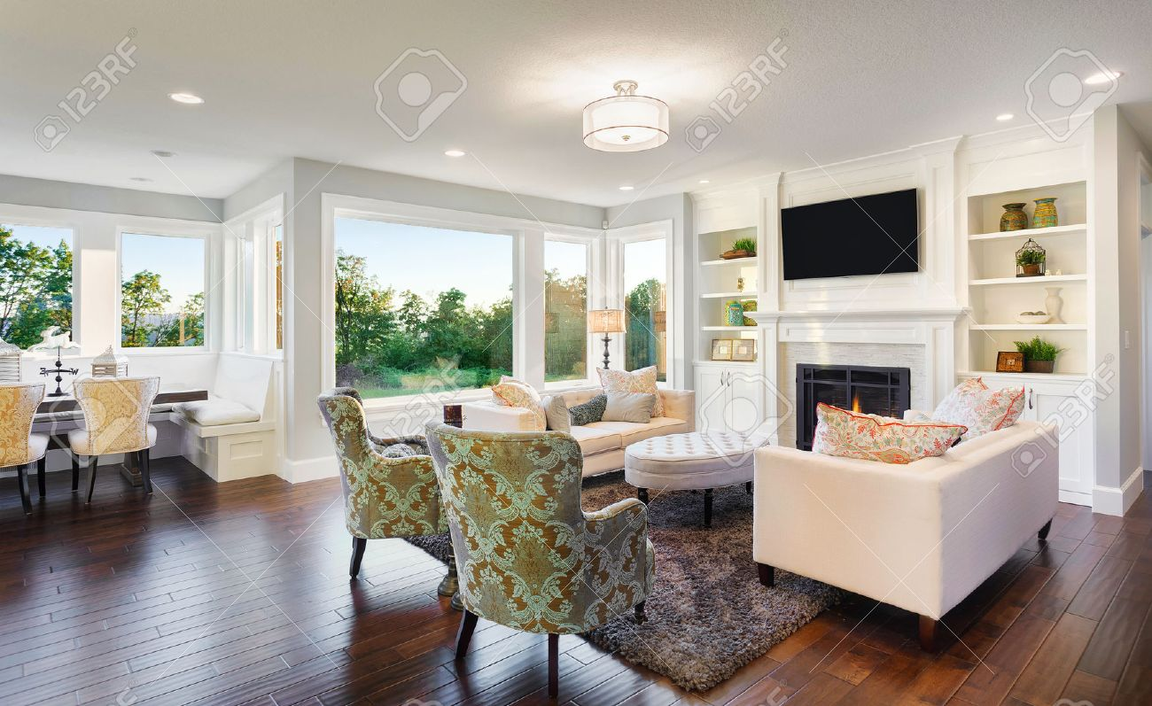 Living Room Interior in New Home - 53600996