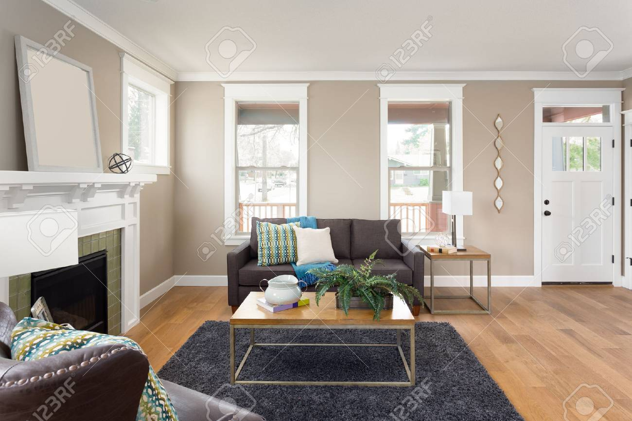 Beautiful Living Room Interior With Hardwood Floors And Fireplace Stock Photo Picture And Royalty Free Image Image 60802883