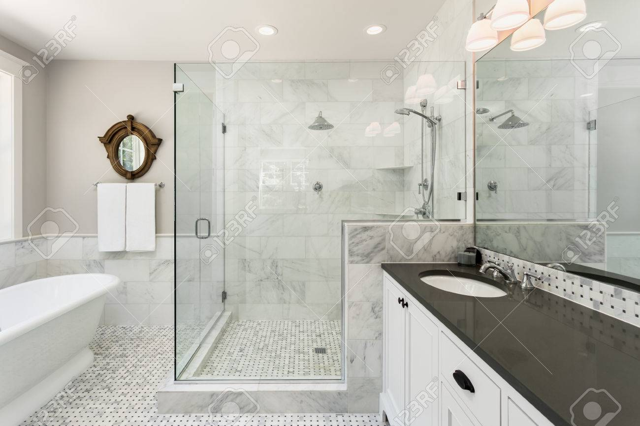 Bathtub And Shower In New Luxury Home Stock Photo, Picture And ...