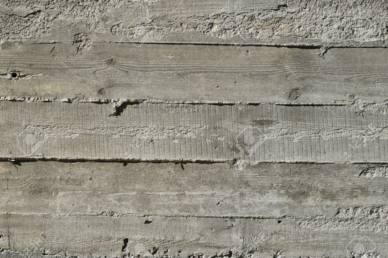 Concrete Wall With Wooden Pattern Impress From Wooden Form Board ...