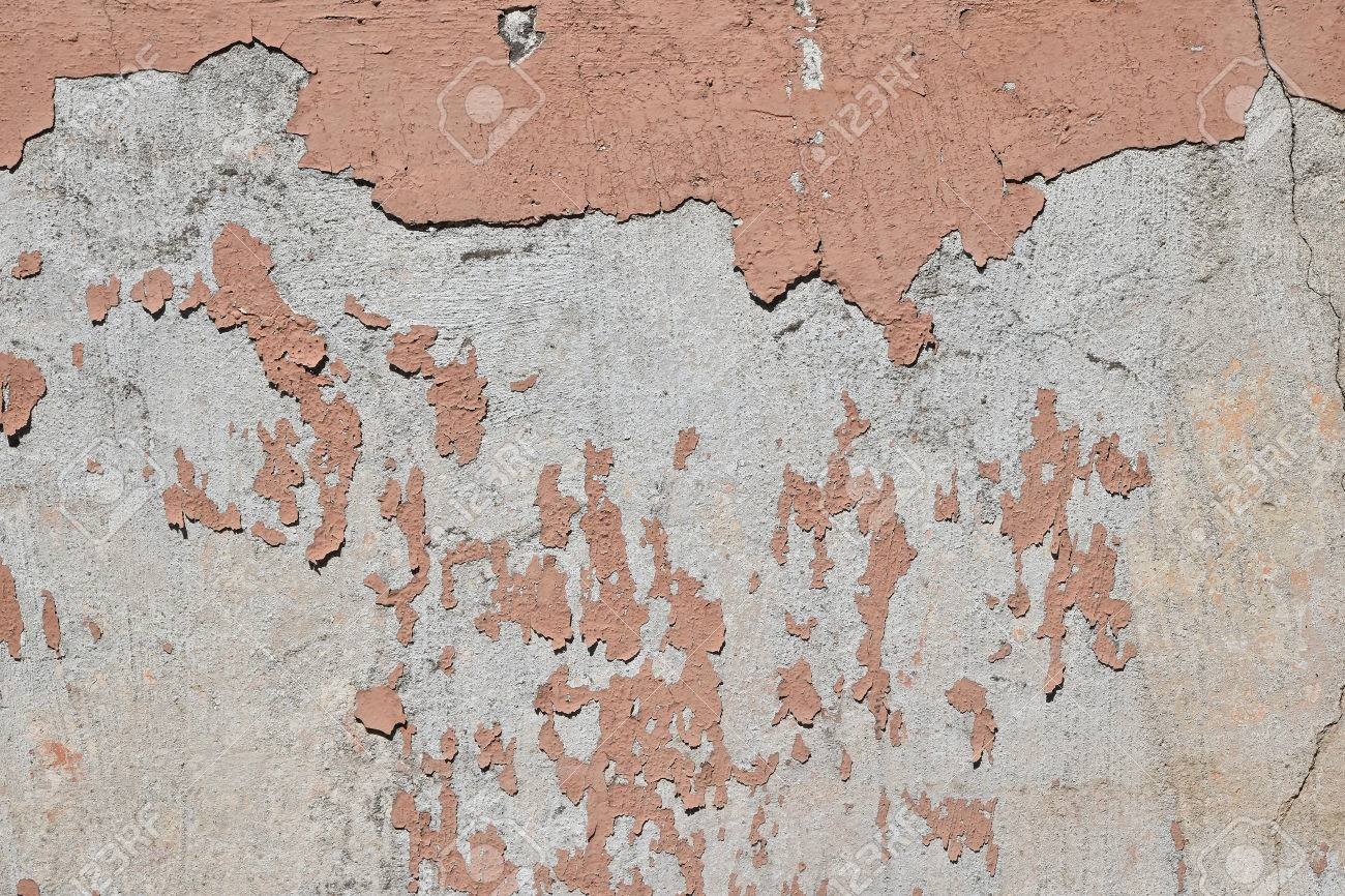 Flocons D époque Du Vieux Peinture Rose Fanée Plus Abandonnée Mur De Béton Gris