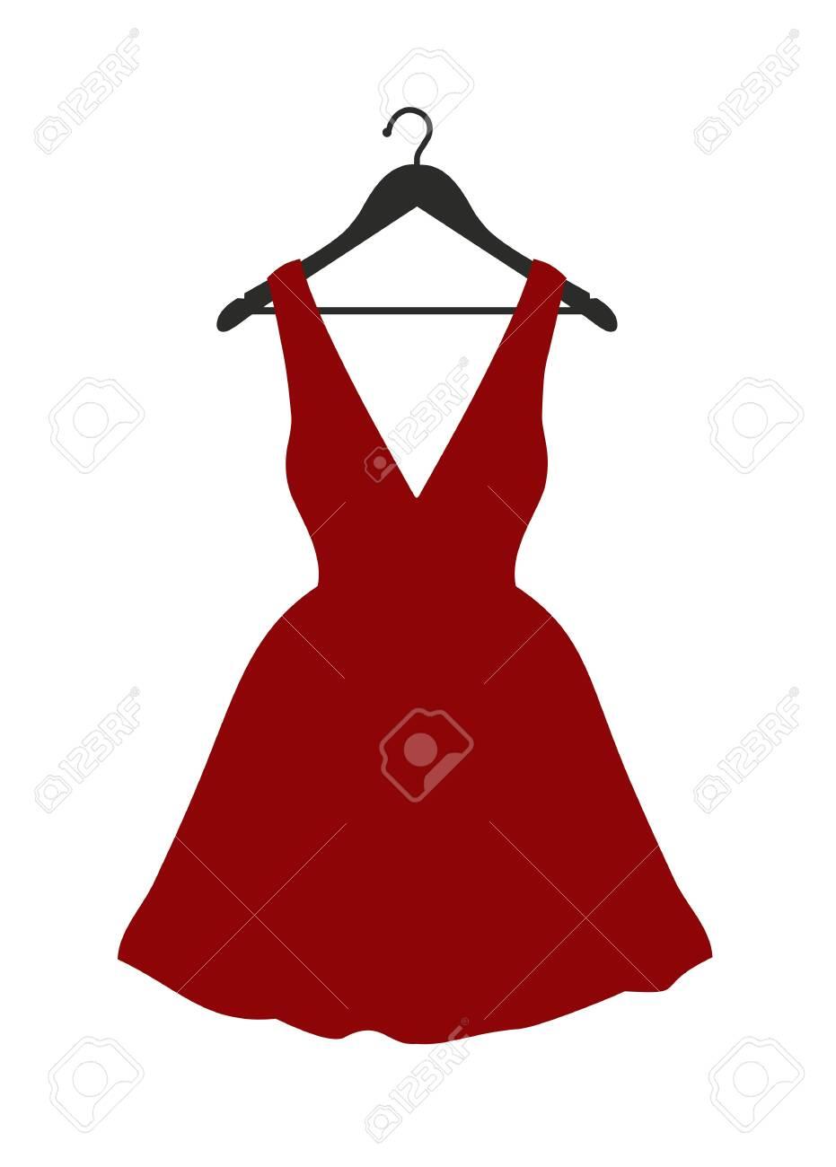 Vector illustration of little red dress hanging on black clothes hanger over white - 132124374