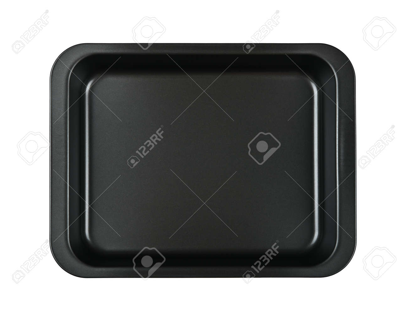 Close up one rectangular black nonstick tin baking mold case isolated on white background, elevated top view, directly above - 154074352