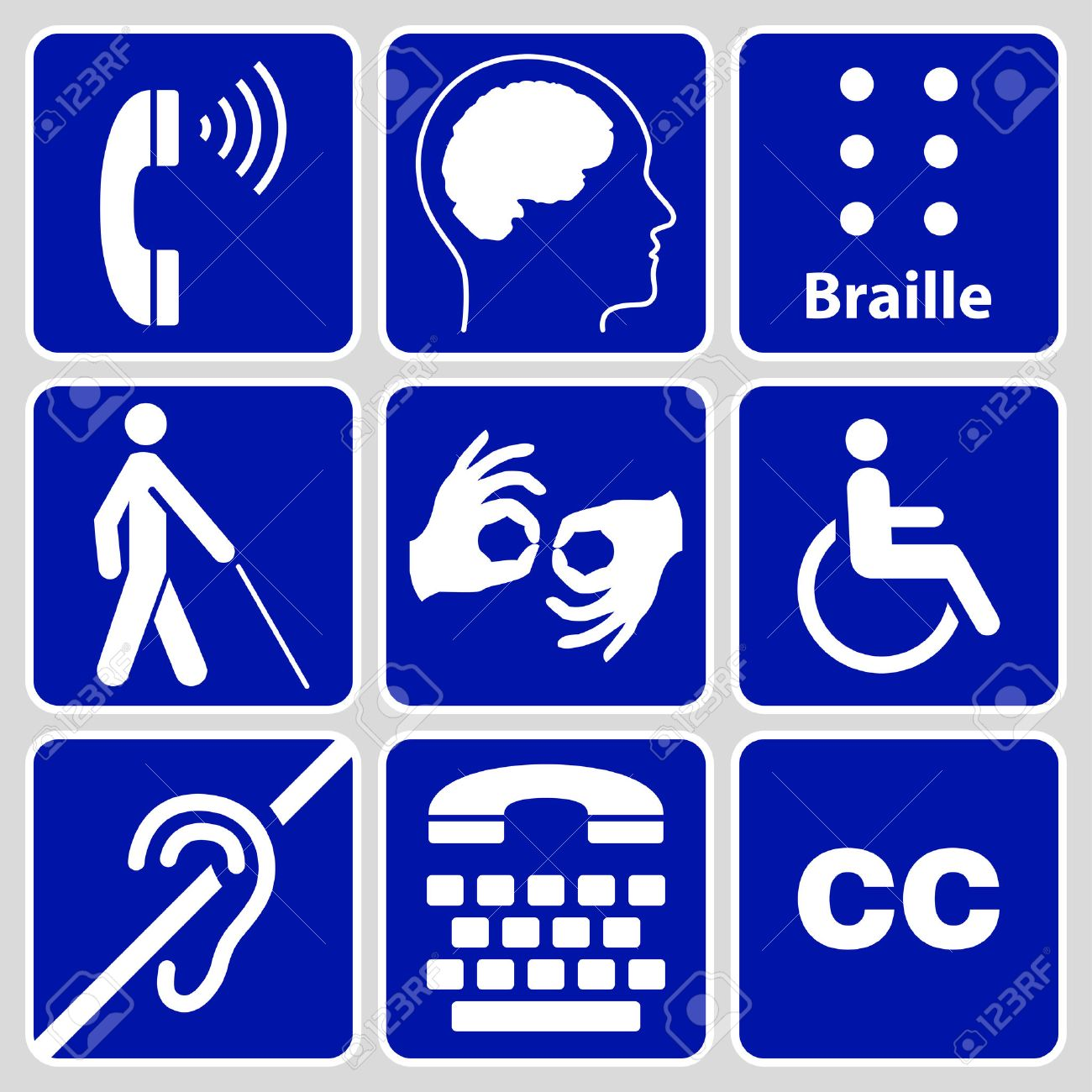 blue disability symbols and signs collection, may be used to publicize accessibility of places, and other activities for people with various disabilities.vector illustration - 35627470