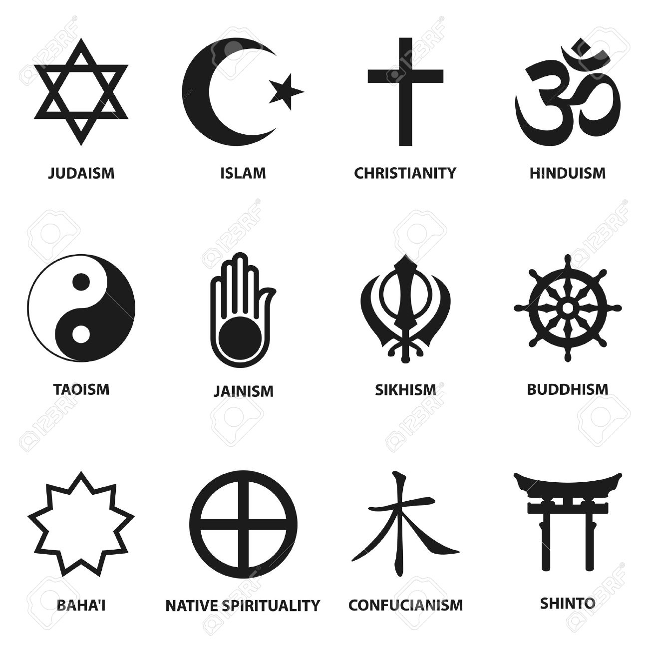 Religious symbols stock photos royalty free business images world religious sign and symbols collection isolated on white background vector illustration buycottarizona