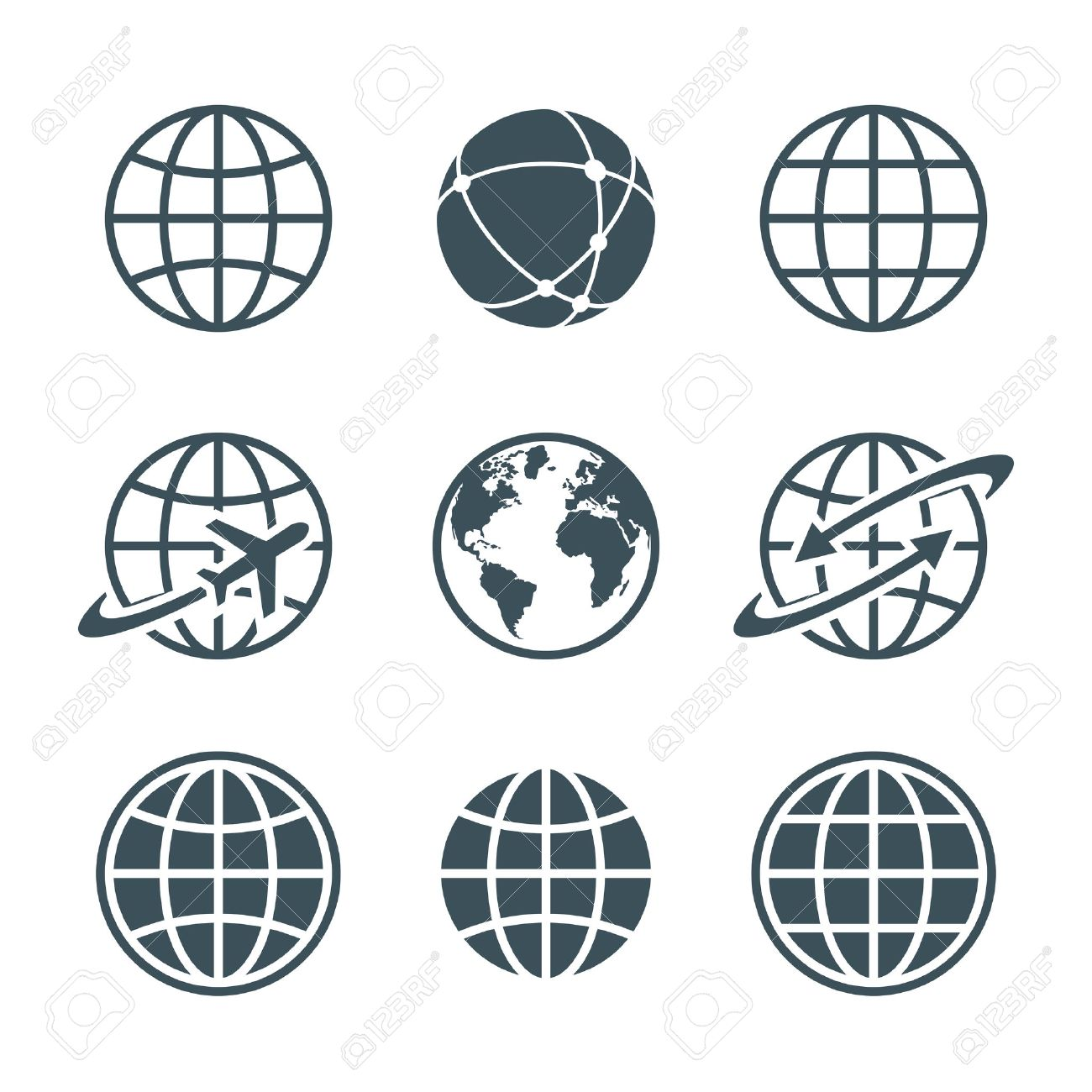 globe, earth, world icons set isolated on white background. ball wire, globe and airplane, globe with arrow. vector illustration - 43909637