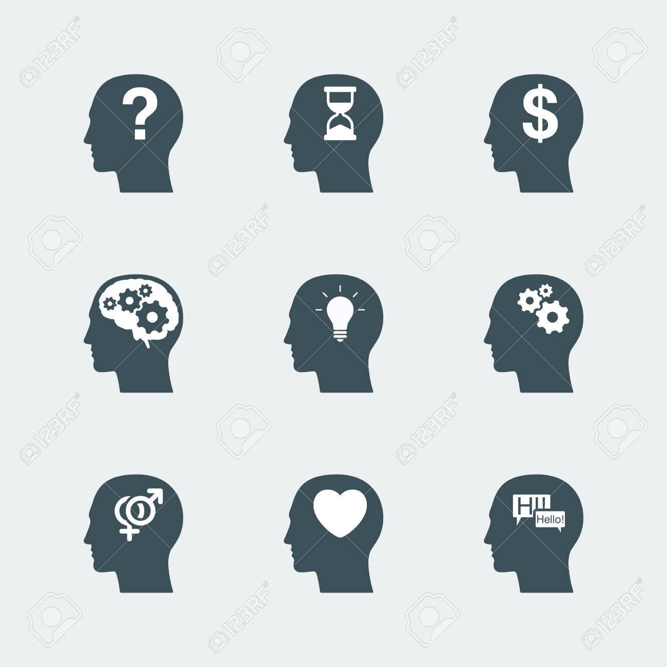Human head icons set symbol of thinking process and idea concept human head icons set symbol of thinking process and idea concept relation and communication biocorpaavc