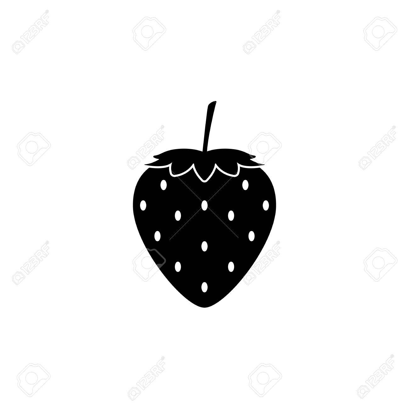 Black Strawberry Icon Isolated On White Background. Vector ... for Strawberry Clipart Black And White  59dqh