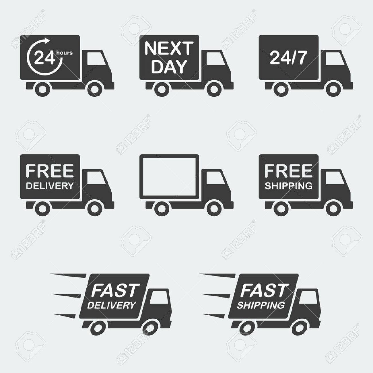 delivery icon set. next day delivery, free delivery and fast delivery, free shipping and fast shipping, 247 and 24 hour delivery. vector illustration - 49215549
