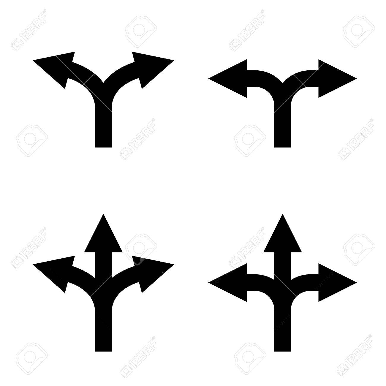 Direction Arrow Sign Set Uncertainty Choice Unknown Direction Two