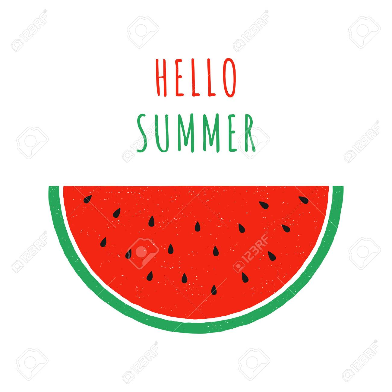 hand drawn slice of watermelon. doodle watermelon. hand drawing fruit. vector print with watermelon. isolated on white background. - 60538196