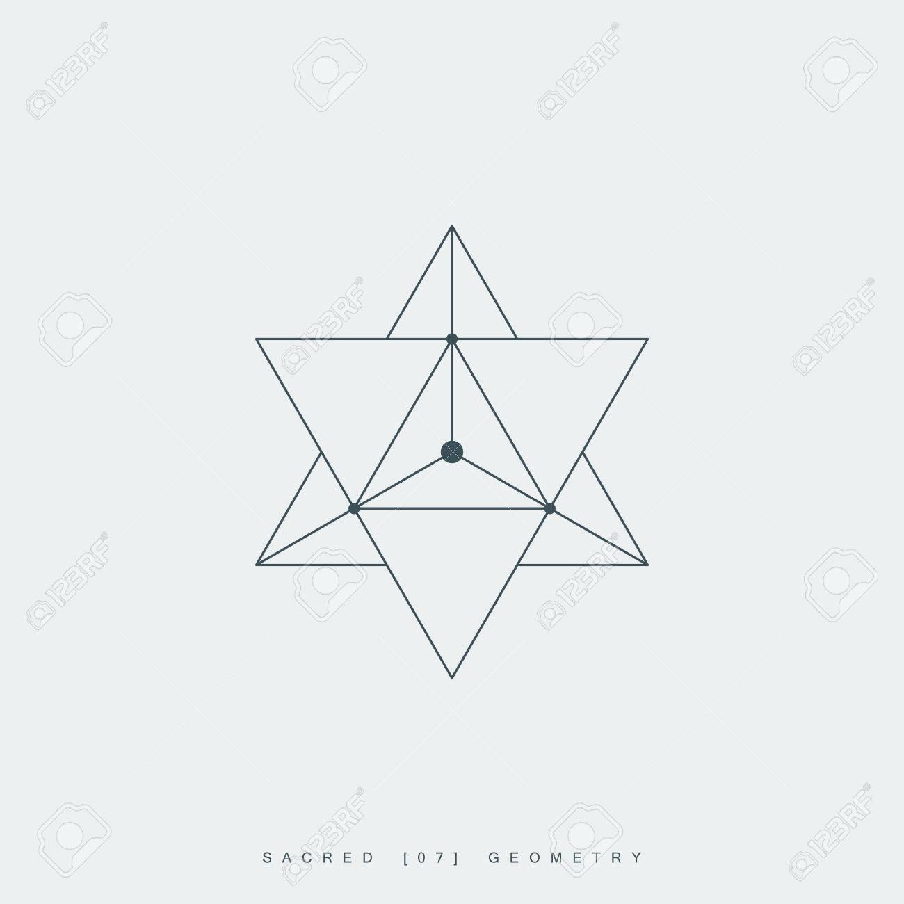 Heilige Geometrie Merkaba Dünne Linie Geometrischen Dreiecksform