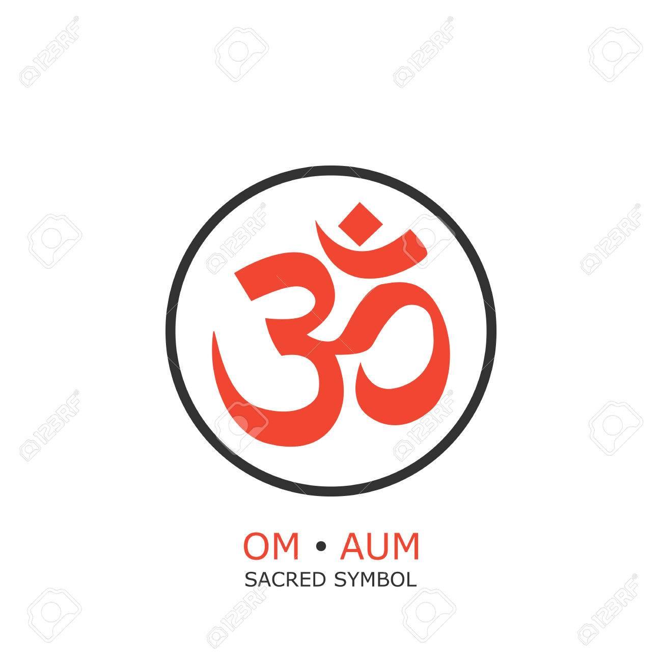 Om Symbol Aum Sign Isolated On White Background