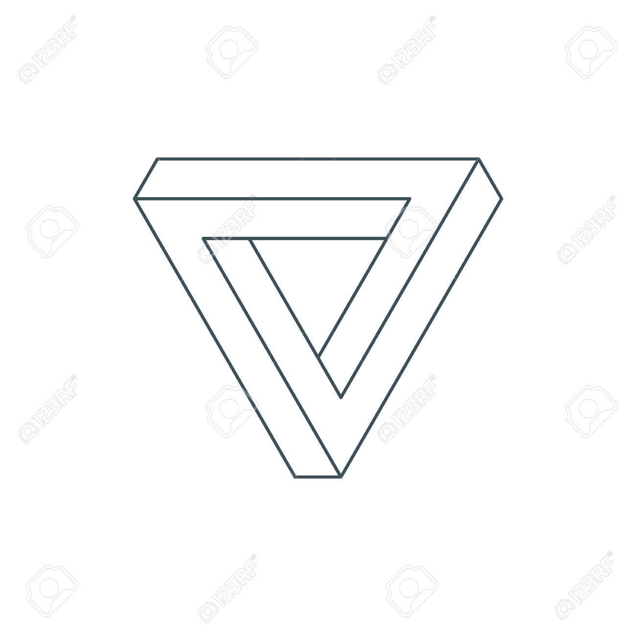 細い線のペンローズの三角形。不...