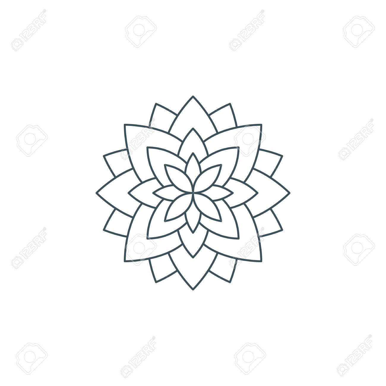 Line Lotus Flower Or Flower Of Life Sacred Geometry Mandala