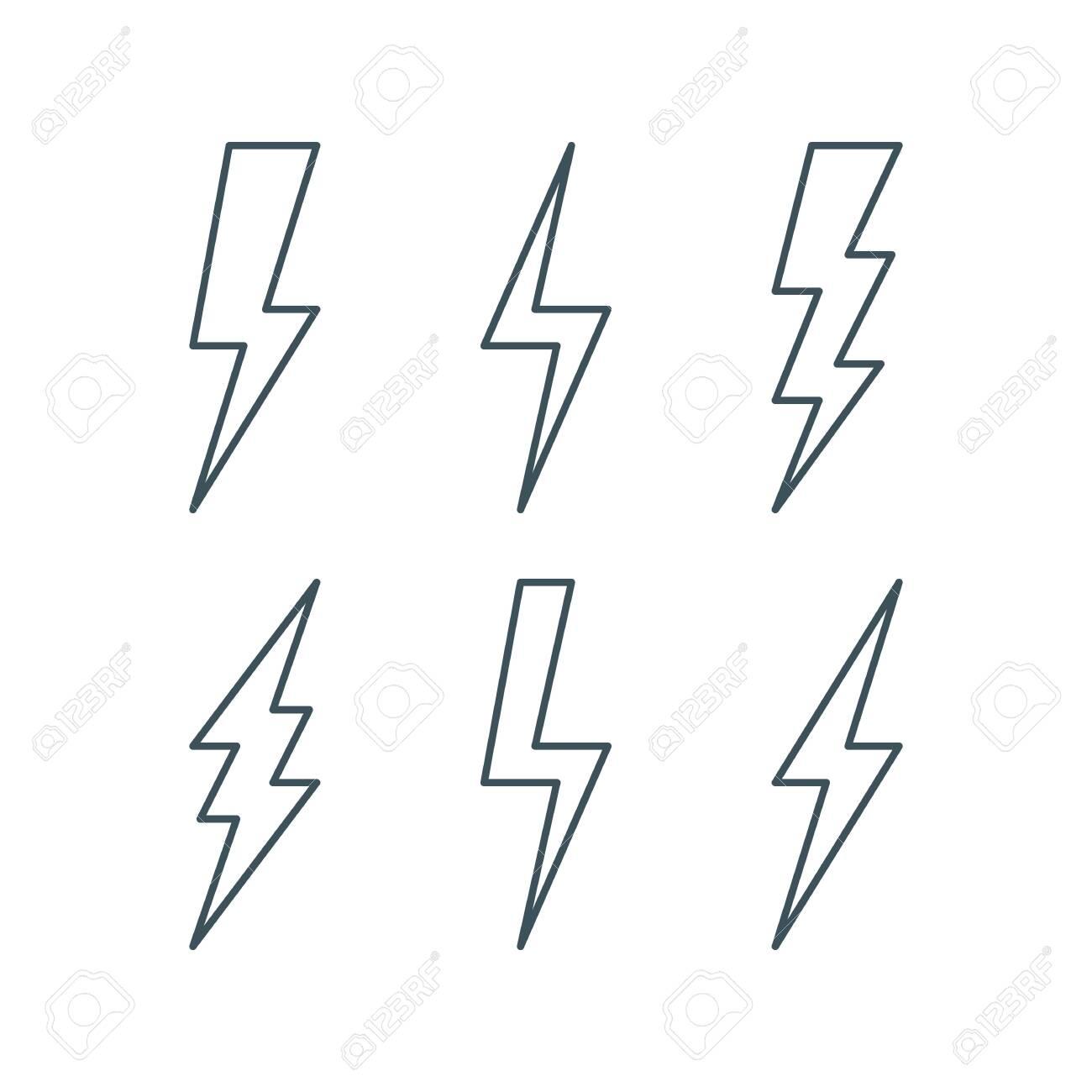 11 Thin Line Lightning Bolt Icons Set. Outline Thunderbolt Sign ...