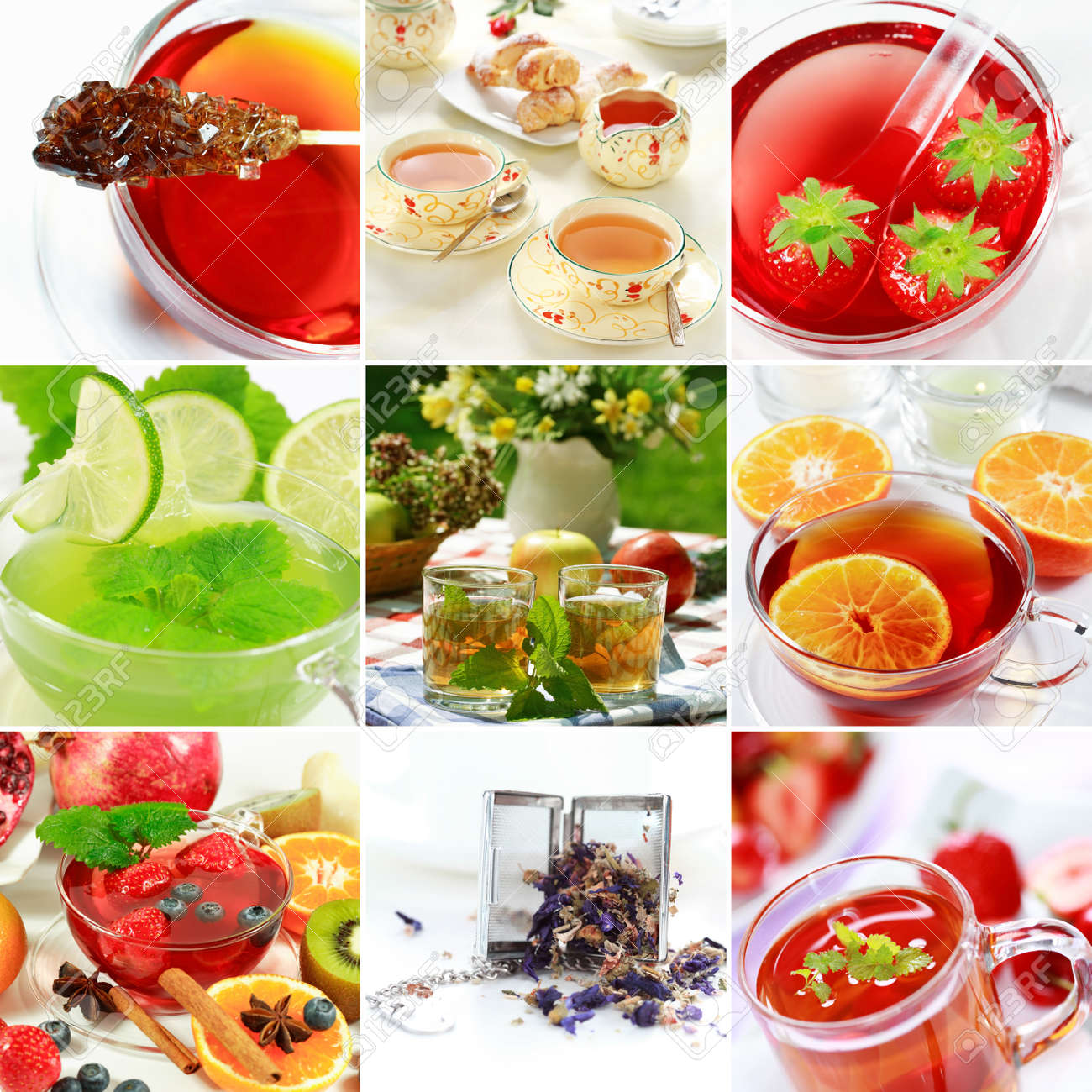 Collage of natural herbal tea with fruits Stock Photo - 4463798