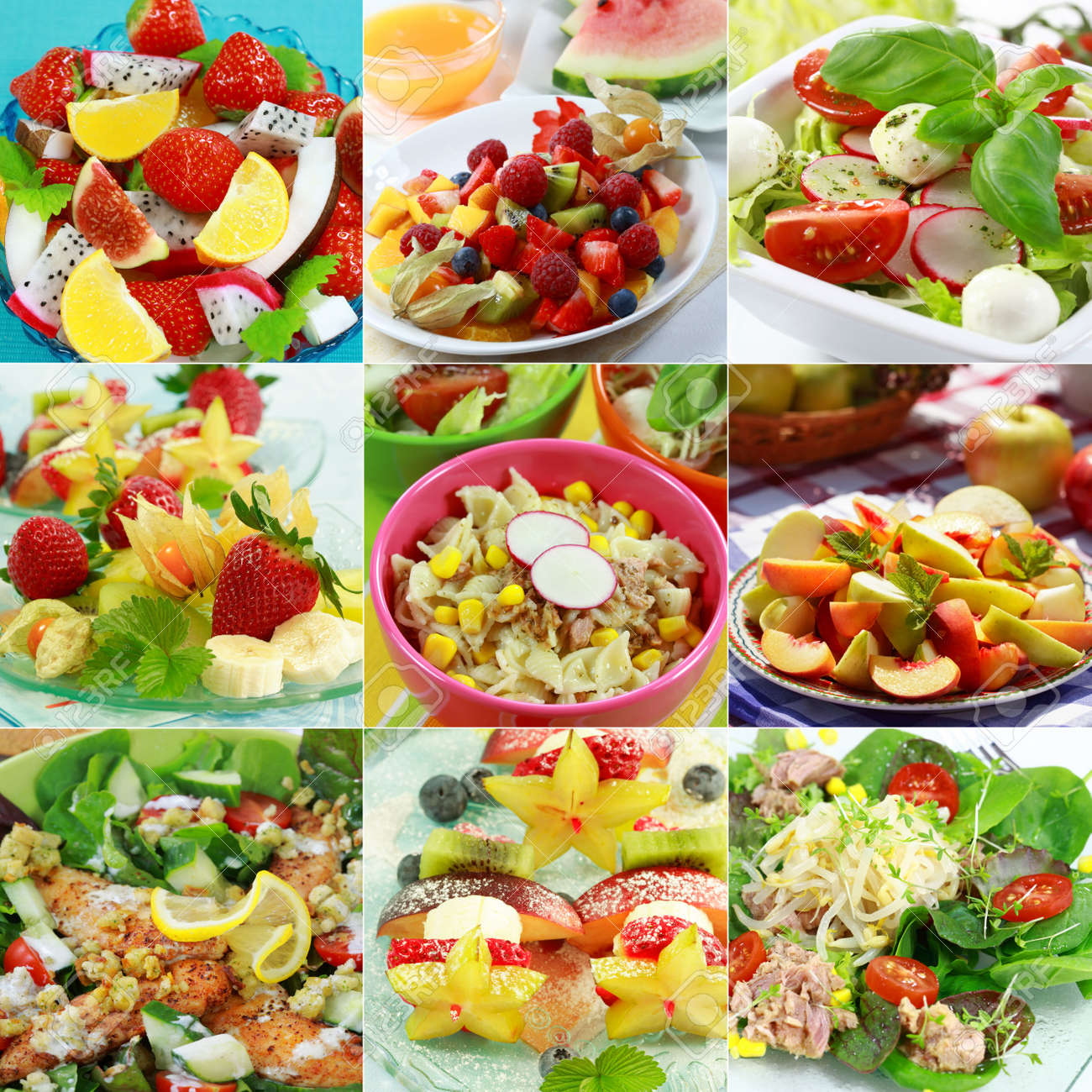 Different delicious vegetable and fruit salads Stock Photo - 4830353