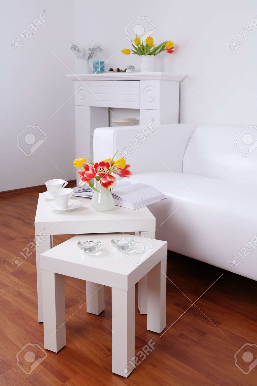 Time for relaxing and reading - home interior in white tone Stock Photo - 4920451