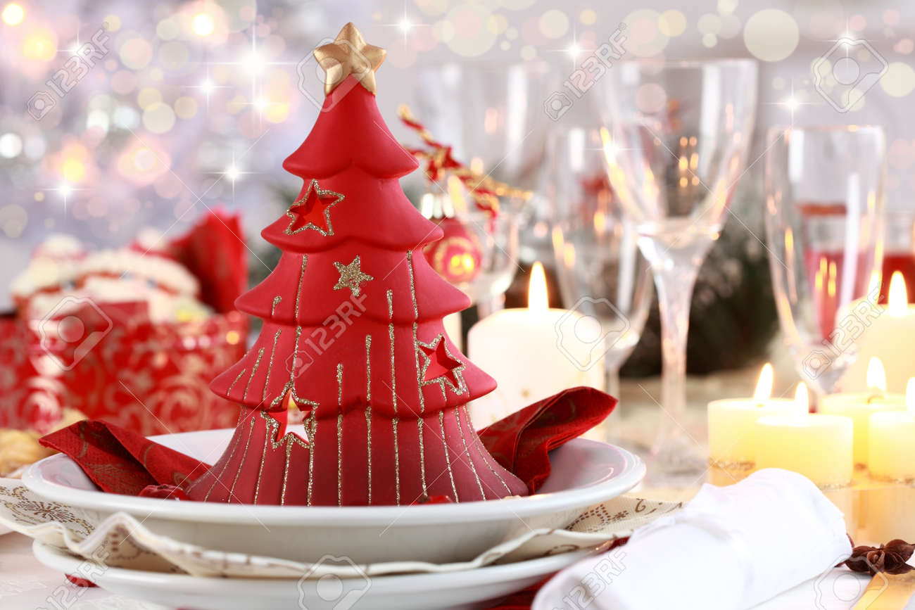 Table setting for Christmas with fresh fruits Stock Photo - 8387047