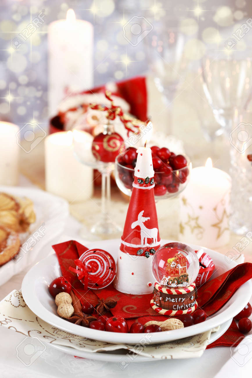 Table setting for Christmas with fresh fruits Stock Photo - 8387043